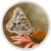 Hackberry Emperor Butterfly 2 Round Beach Towel