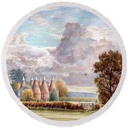 Hadlow Stand Of Oasts Round Beach Towel