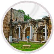 Hadrian's Gate In Antalya-turkey Round Beach Towel