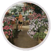 Haefner's Garden Center Impatiens Round Beach Towel
