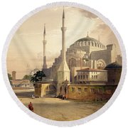 Haghia Sophia, Plate 17 Exterior View Round Beach Towel by Gaspard Fossati