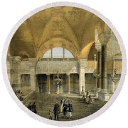 Haghia Sophia, Plate 9 The New Imperial Round Beach Towel by Gaspard Fossati