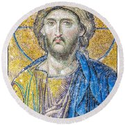 Hagia Sofia Jesus Mosaic Round Beach Towel