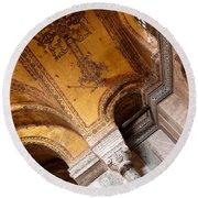 Hagia Sophia Arch Mosaics Round Beach Towel