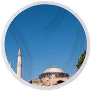 Hagia Sophia Blue Sky 02 Round Beach Towel