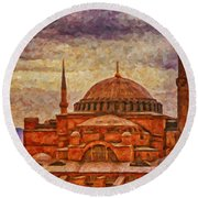 Hagia Sophia Digital Painting Round Beach Towel