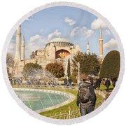 Hagia Sophia Editorial Round Beach Towel by Antony McAulay