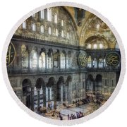 Hagia Sophia Interior Round Beach Towel by Joan Carroll