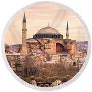 Hagia Sophia Mosque - Istanbul Round Beach Towel