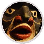Haida Carved Wooden Mask 5 Round Beach Towel