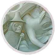 Haida Sculpture Closeup In Canadian Museum Of Civilization In Gatineau-quebec-canada Round Beach Towel