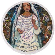 Hail Mary Round Beach Towel