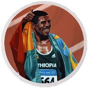 Haile Gebrselassie Round Beach Towel by Paul Meijering