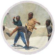 Haitian Boys Playing Soccer Round Beach Towel