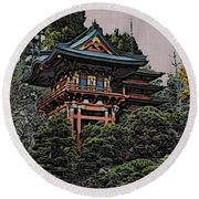 Hakoni Tea House Round Beach Towel