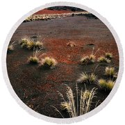 Haleakala - Red And Black Round Beach Towel