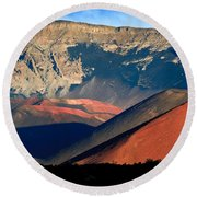 Haleakala Cinder Cones Lit From The Sunrise Within The Crater Round Beach Towel