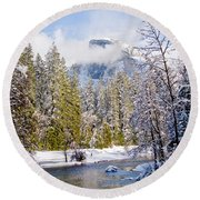Half Dome And The Merced River Round Beach Towel by Bill Gallagher