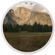 Half Dome And The Yosemite Valley Round Beach Towel