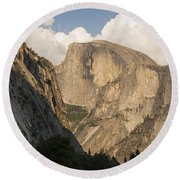Half Dome As The Sun Drops In The Sky Round Beach Towel
