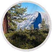 Half  Dome From Sentinel Dome Trail In Yosemite Np-ca Round Beach Towel