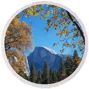 Half Dome In Yosemite Round Beach Towel
