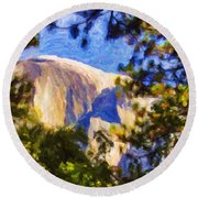 Half Dome Opus I Round Beach Towel