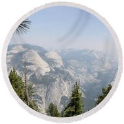Half Dome Panorama View Round Beach Towel
