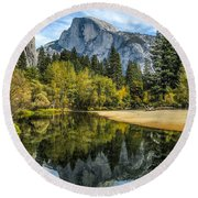 Half Dome Reflected In The Merced River Round Beach Towel