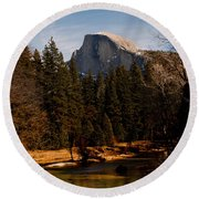 Half Dome Spring Round Beach Towel by Bill Gallagher