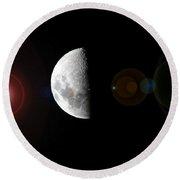 Half Moon Lens Flare Round Beach Towel