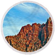 Half Moon Over Zion National Park-utah Round Beach Towel
