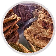Half Of Horshoe Bend - Page Az Round Beach Towel