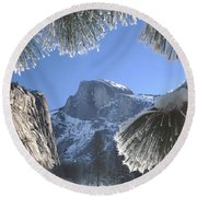 2m6757-halfdome In Winter Round Beach Towel