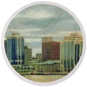 Halifax From The Harbour Round Beach Towel by Jeff Kolker