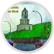 Halifax Historic Town Clock Poster Round Beach Towel