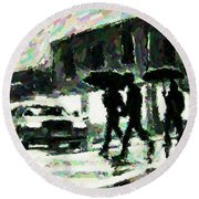Halifax In The Rain One Round Beach Towel