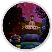 Halifax Night Patrol And Town Clock Round Beach Towel