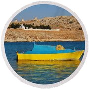 Halki Fishing Boat Round Beach Towel