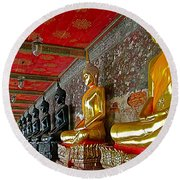 Hall Of Buddhas At Wat Suthat In Bangkok-thailand Round Beach Towel