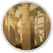 Hall Of Columns, Karnak, From Egypt Round Beach Towel by David Roberts