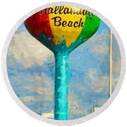 Hallandale Beach Water Tower Round Beach Towel