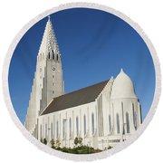 Hallgrimskirkja Church In Reykjavik Iceland Round Beach Towel