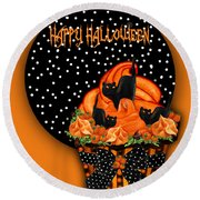 Halloween Black Cat Cupcake 2 Round Beach Towel