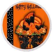 Halloween Black Cat Cupcake 3 Round Beach Towel