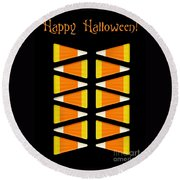 Halloween Candy Corn Round Beach Towel