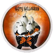 Halloween Ghost Cupcake 1 Round Beach Towel
