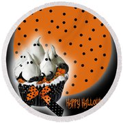 Halloween Ghost Cupcake 2 Round Beach Towel