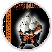 Halloween Ghost Cupcake 3 Round Beach Towel