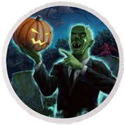 Halloween Ghoul Rising From Grave With Pumpkin Round Beach Towel
